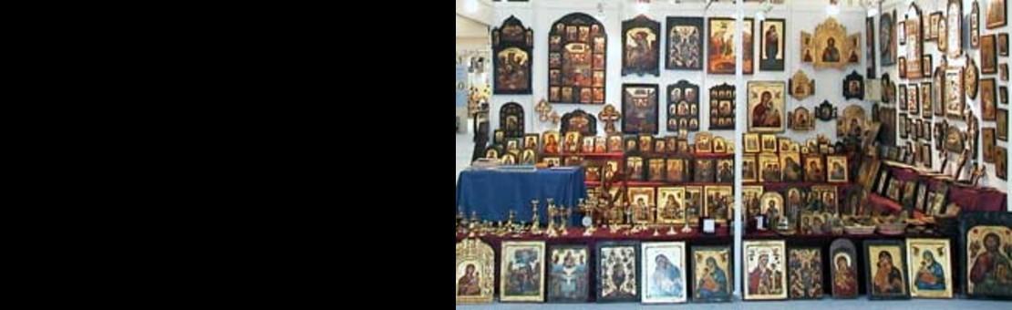 Ausstellung der Ikonen auf einer Messe